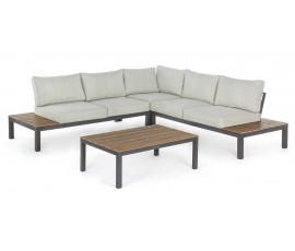 Conjunto Elias sofá en L + mesa, color antracita