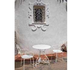 Conjunto Etienne mesa Ø70cm + 2 sillas, color Blanc