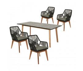 Conjunto Seville, mesa 180x90 + 4 sillas