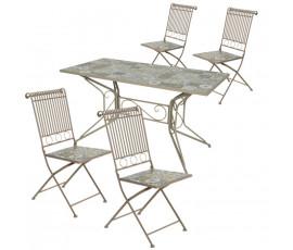 Conjunto Toulouse mesa 140x70 + 4 sillas, color taupe
