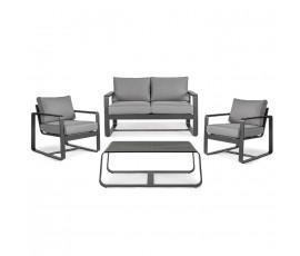 Conjunto Merrigan sofá + 2 sillones + mesa, color antracita
