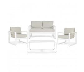 Conjunto Merrigan sofá + 2 sillones + mesa, color blanco