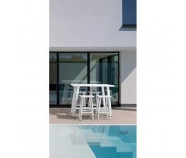Conjunto Skipper mesa bar 130x73 + 4 taburetes, color blanco