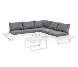 Conjunto Crozet blanco sofá en L + mesa