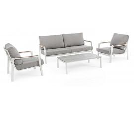 Conjunto Jalisco sofá + 2 sillones + mesa, color blanco